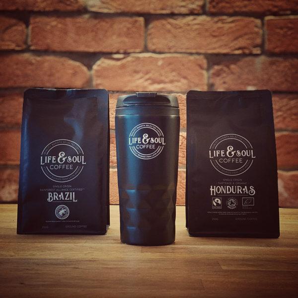 Twin Bag & Travel Mug Gift Set - Brazil & Honduras