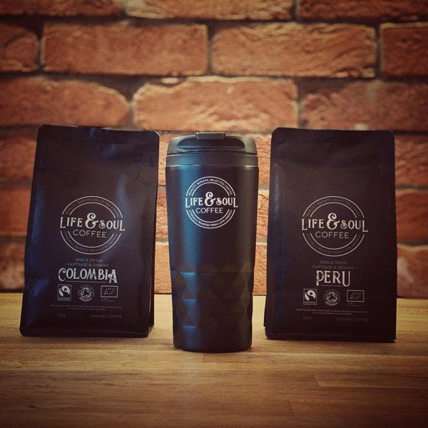 Twin Bag & Travel Mug Gift Set - Colombia & Peru